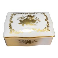 Lefton Porcelain Hand Painted Gold Roses Trinket Box Dishes