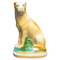 Staffordshire Porcelain Dog Terrier Figurine Unsigned
