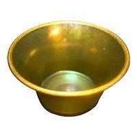 Stretch Glass Green Iridescent Small Bowl Gold Trim
