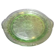 Cameo Green Depression Glass Tab Handle Cake Plate Anchor Hocking