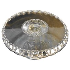 Clear Lace Edge Drop Skirt Cake Stand EAPG Co-Operative Flint