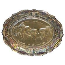 Fostoria American Milestone Mt Rushmore Plate Iridescent Carnival 1975