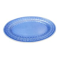 Edwin Knowles Highlight Plaid Cornflower Blue Oval Platter 1930s