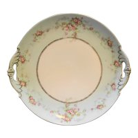 MZ Austria Moritz Zdekauer Porcelain Cake Plate Pink Roses Wreath Green Rim Swags Gold Trim