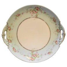 MZ Austria Moritz Zdekauer Porcelain Cake Plate Pink Roses Wreath Green Rim Swags Gold Trim
