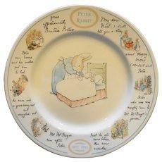 Peter Rabbit Centennial Dinner Plate Wedgwood 1993 9 3/4 IN