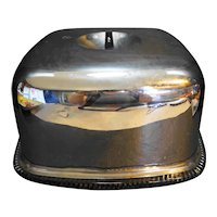 Square Cake Saver Steel Dome Black Knob Glass Plate 1940s