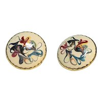 Abstract Enamel Colorful Swirl Spatter Circle Clip Earrings