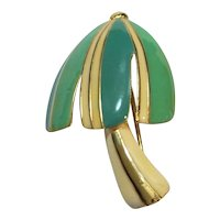 Blue Green Enamel Mushroom Gold Tone Pin