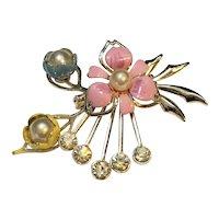 Enamel Flowers Faux Pearls Rhinestones Pin