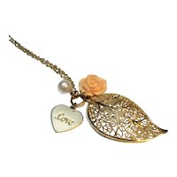 Filigree Leaf Pendant Necklace Peach Rose Faux Pearl Love Charm
