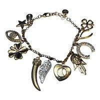 Ann Taylor Loft Rhinestone Lucky Charm Bracelet Goldtone