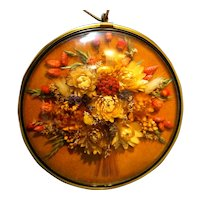 Dried Flowers Wall Hanging Framed Curved Glass