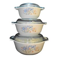 Pyrex Blue Iris England Casserole Set of 3