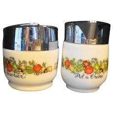 Gemco Spice of Life Creamer Sugar Bowl Milk Glass Vegetables Le Sucrier Pot a Creme