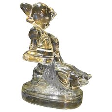 LE Smith Goose Girl 7 IN Clear Glass Bookend Figurine