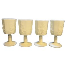 Westmoreland Paneled Grape Water Goblet Set of 4 White Milk Glass