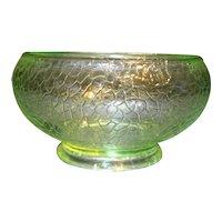 Crackle Glass Vaseline Green Depression Bowl Vase