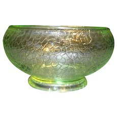 Crackle Glass Vaseline Green Depression Bowl Vase