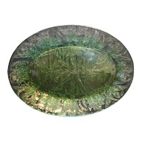 Jeannette Depression Glass Floral Poinsettia Green Oval Platter
