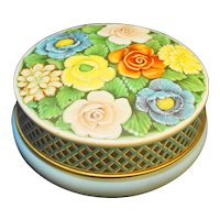 Riley's Toffee Halifax England Tin Embossed Flowers Blue