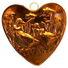 Goose Geese Duck Heart Shaped Copper Jello Mold