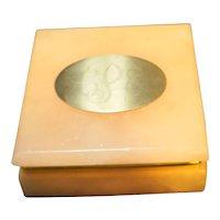 Peach Alabaster Carved Square Trinket Box Engraved Monogram