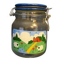 Anchor Hocking Nina Meadow Farm Scene Glass Short Canister