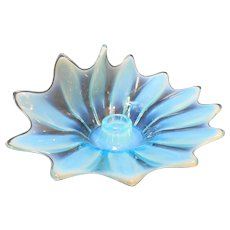 Fostoria Heirloom Blue Opalescent Flora Candle Holder