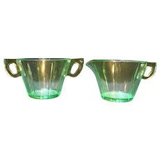 US Glass Scroll Starflower Green Depression Glass Cream Sugar
