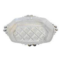 Pressed Clear Glass Diamond Waffle Dot Relish