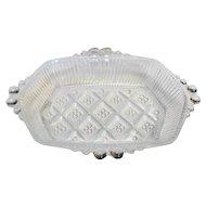 Pressed Clear Glass Diamond Waffle Dot Relish