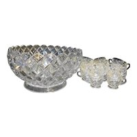 Anchor Hocking Waterford Waffle Punch Set Bowl 16 Cups Depression Glass Clear