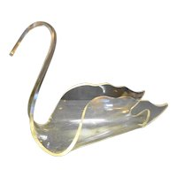 Clear Lucite Acrylic Swan Towel Holder Centerpiece