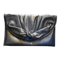 Rowallan of Scotland Navy Blue Leather Clutch Twist Knot Front
