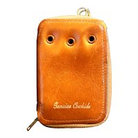 Cowhide Leather Key Case Zip Closure