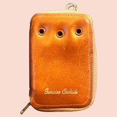 Cowhide Leather Key Case Zip Closure