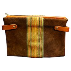 Brown Suede Clutch Woven Stripe Inset Fall Colors
