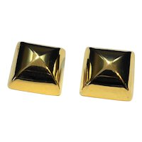 Gold Tone Square Chunky Clip Earrings Cushion Pillow Shape