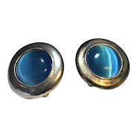 Silver Plated Blue Moonglow Disc Earrings Clips