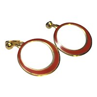 Red Enamel Gold Tone Hoop Candle Earrings Clips