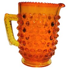 LG Wright Fenton Orange Hobnail Mini Creamer