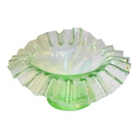 Green Depression Glass Vintage Grape Pattern Bowl Ruffled Rim