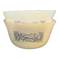 Currier & Ives Anchor Hocking Fire King Custard Cups Pair Milk Glass