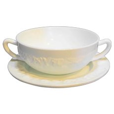 Vitrock White Cream Soup Bowl and Saucer Hocking Depression Glass