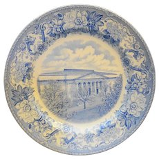 Spode Copeland Blue Transferware Constitution Hall Dinner Plate