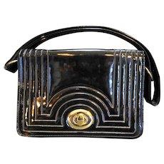 Black Patent Topstitched Art Deco Style Purse