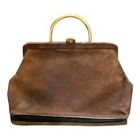 Paristyle Brown Ultrasuede Purse Gold Tone Handle