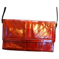 Dark Wine Red Burgundy Eelskin Convertible Clutch Purse Shoulder Bag