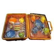 Child's Tea Set for 4  Ceramic in Wicker Basket Polka Dots